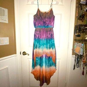 tie-dye watercolor affect High low dress